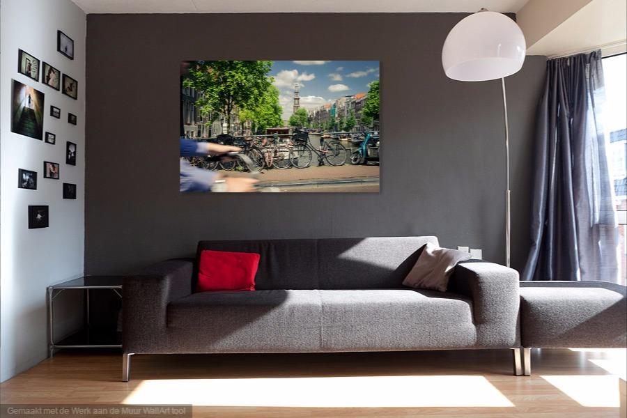 wanddecoratie, westertoren, Amsterdam, straat, fiets, muur, foto, leuk, iets, ideeen, canvas, werk, print, hout, aluminium, digibond, woonkamer, kunst, online, shop, fotografie, Sven, Wildschut,