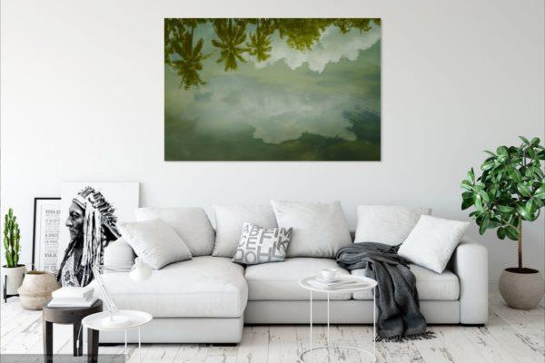 sukothai, reflectie, water, palm, aan, muur, iets, leuks, wanddecoratie, fotografie, thailand, azië, reis, wolken, regen,