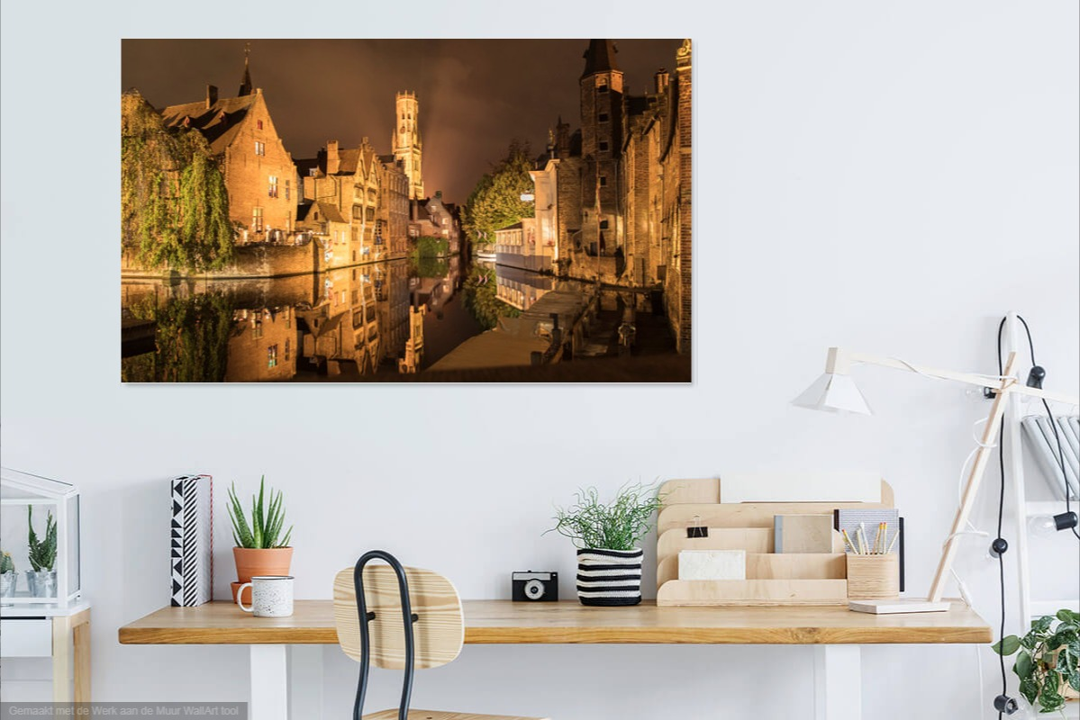 brugge, rozenhoedkaai, belgie, muur, iets, leuks, avond, canvas, print, aluminium, poster, behang, sven, fotografie, almere, fotograaf, wanddecoratie