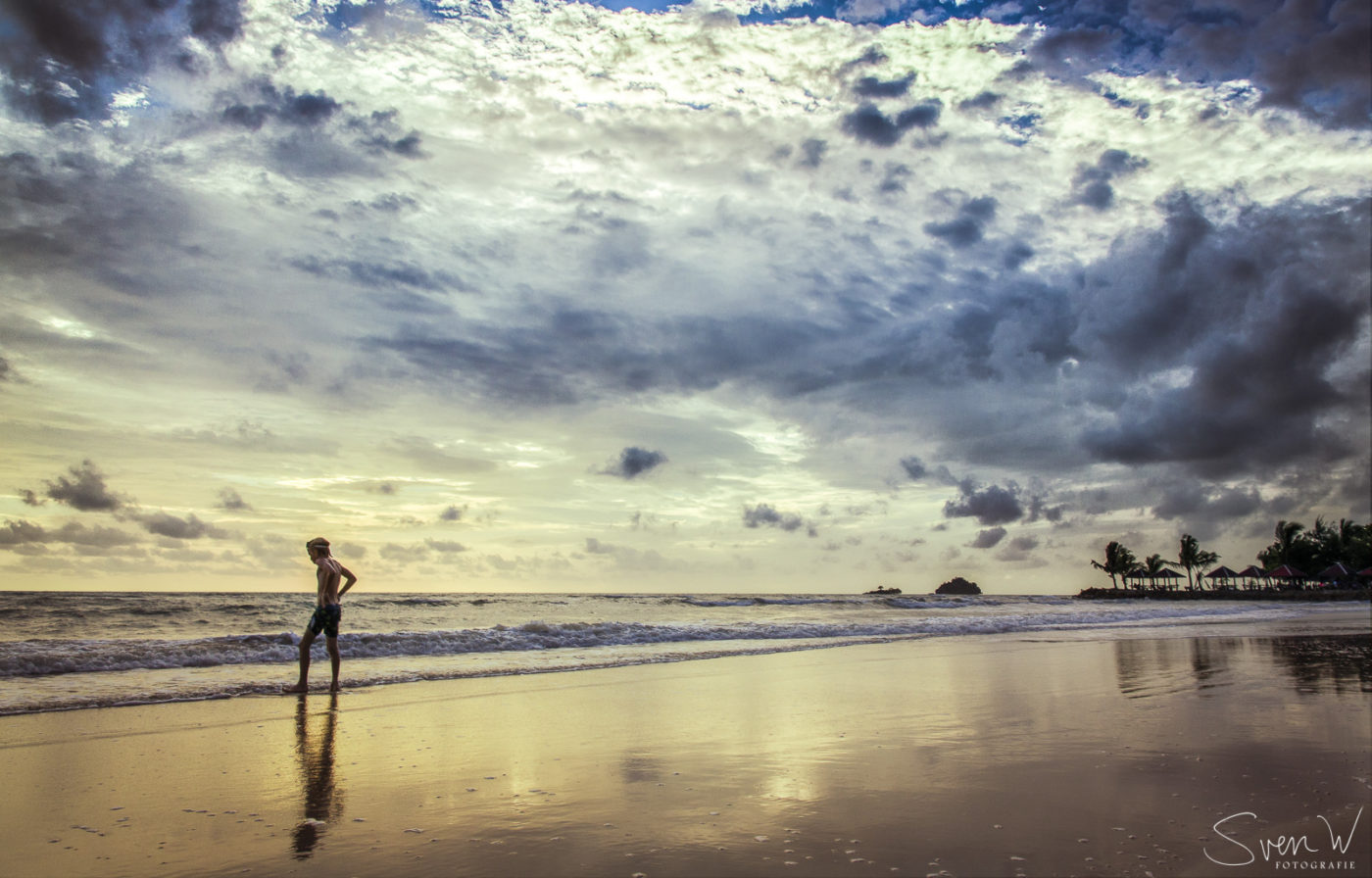 Azië, Kai Bae, Ko Chang, reizen, resort, sea, strand, sunset, Thailand, zonsondergang, sven, muur, reflectie,