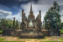 wat, sa, si, tempel, sukhothai, thailand, reizen, sven, muur, wanddecoratie